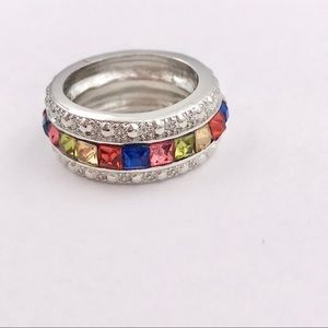 Vintage Rainbow Cubic Zirconia Eternity Band Ring